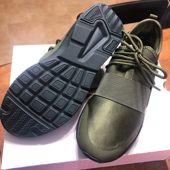 Olive Green Fabletic Tennis Shoe